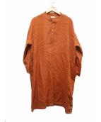 fog linen work(フォグリネンワーク)の古着「リネンワンピース」|オレンジ