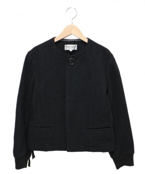 ROBE DE CHAMBRE COMME DES GARCONS(ローブドシャンブル コムデギャルソン)robe de chambre COMME des GARCONS (ローブドシャンブル コムデギャルソン) ノーカラーウールジャケット ブラック サイズ:M RG-J054 2002AWの古着・服飾アイテム