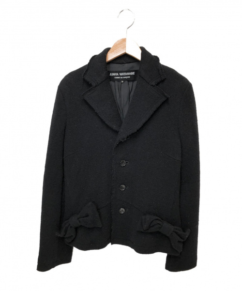 JUNYA WATANABE CdG(ジュンヤワタナベコムデギャルソン)JUNYA WATANABE CDG (ジュンヤワタナベ コムデギャルソン) リボンニットジャケット ブラック サイズ:M 2005AW JP-J054の古着・服飾アイテム