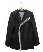 Y's bis LIMI(ワイズビスリミ)の古着「フリンジノーカラージャケット」|グレー