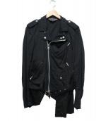 COMME des GARCONS HOMME PLUS(コムデギャルソンオムプリュス)の古着「コットンダブルライダースジャケット」|ブラック