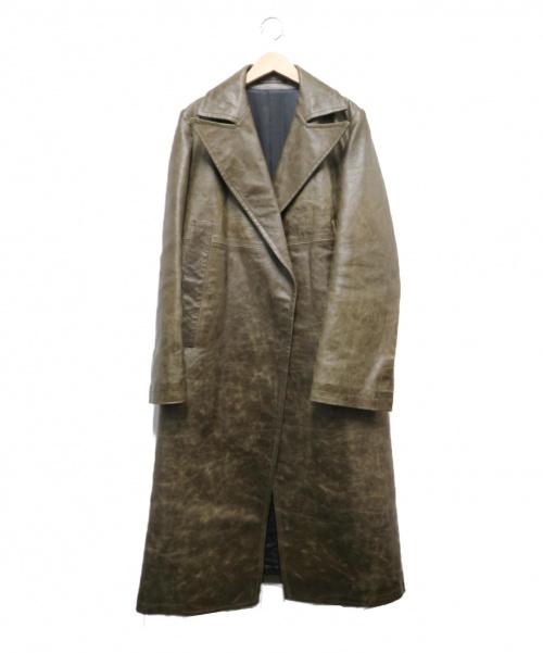Y's(ワイズ)Y's (ワイズ) ピッグレザーコート ブラウン サイズ:3 YG-C14-700 96AWの古着・服飾アイテム