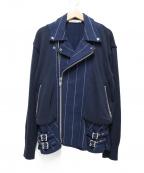 sacai luck(サカイ ラック)の古着「異素材ストライプペプラムライダースジャケット」 ネイビー
