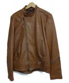 BLUE WORK(ブルーワーク)の古着「カウシュリンクライダースジャケット」|ブラウン