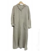 fog linen work(フォグリネンワーク)の古着「リネン100%ブラウスシャツワンピース」|ベージュ