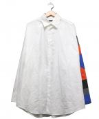 ALMOSTBLACK(オールモストブラック)の古着「パッチワークスリーブシャツ」 ホワイト×ブルー