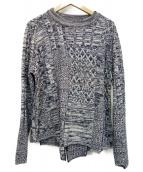 bukht(ブフト)の古着「フィッシャーマンクレイジーパッチワークセーター」|ブルー
