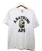 A BATHING APE(ア ベイシング エイプ)の古着「カラーカモゴリラプリントTシャツ」|ホワイト