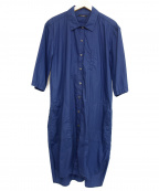 TAAKK(ターク)の古着「ロングシャツ」 ネイビー
