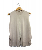 CELINE(セリーヌ)の古着「スリットノースリーブニット」|ベージュ