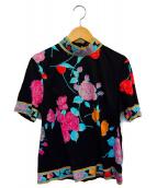 LEONARD(レオナール)の古着「花柄カットソー」|ブラック