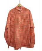 Name.(ネーム)の古着「COTTON PLAID B.D. COLLAR DOUBL」|オレンジ