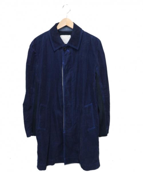 sacai(サカイ)sacai (サカイ) 切り替えコーデュロイコート ネイビー サイズ:1 13-00379の古着・服飾アイテム