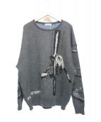 FLAGSTUFF(フラッグスタッフ)の古着「ストリップモヘアセーター」|グレー