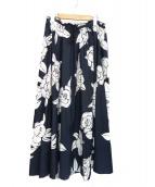 DRAWER(ドゥロワー)の古着「フラワーギャザースカート」|ネイビー