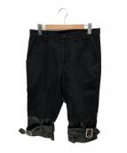 COMME des GARCONS SHIRT(コムデギャルソンシャツ)の古着「裾切替クロップドパンツ」|ブラック