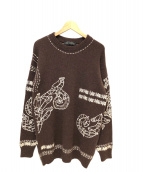 VERSACE(ヴェルサーチ)の古着「カシミヤアルパカ刺繍ニット」|ブラウン