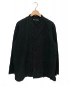 ISSEY MIYAKE MEN(イッセイミヤケメン)の古着「袖切替コットンバンドカラーシャツ」 ブラック