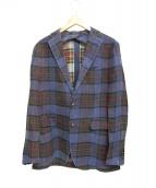 TAGLIATORE(タリアトーレ)の古着「リネンチェックジャケット」|ネイビー