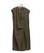 Agnona(アニノア)の古着「カシミヤシルクドレープワンピ」|ブラウン