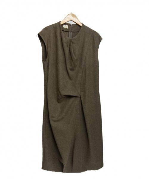 Agnona(アニオナ)Agnona (アニノア) カシミヤシルクドレープワンピ ブラウン サイズ:42 U4050 R7070Yの古着・服飾アイテム