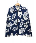 bukht × Ron Herman(ブフト × ロンハーマン)の古着「ハイビスカス柄ジャケット」|ブルー