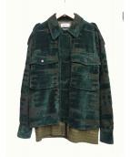 TAAKK(ターク)の古着「ベルベットブルゾン」|グリーン