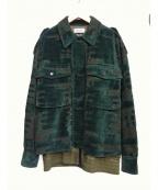 TAAKK(ターク)の古着「ベルベットブルゾン」 グリーン