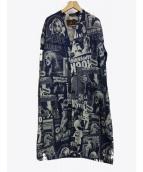 Hysteric Glamour(ヒステリックグラマ)の古着「HG POSTERSジャガードデニムノーカラージャケット」|ネイビー