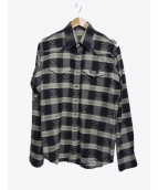 lucien pellat-finet(ルシアンペラフィネ)の古着「コットンカシミヤスカルチェックシャツ」 グレー