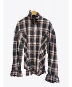 V.W. RED LABEL(ヴィヴィアンウエストウッドレッドレーベル)の古着「オーブ刺繍チェックシャツ」 グレー