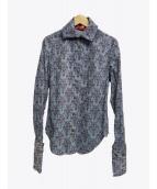 V.W. RED LABEL(ヴィヴィアンウエストウッドレッドレーベル)の古着「オーブ総柄シャツ」 ブルー