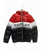 REPLAY(リプレイ)の古着「ダックフリー シャイントリコロールエコダウンパーカー」|レッド