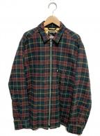 FTC(エフティーシー)の古着「キルテッド ラインド プレイド ネルジップシャツ」|グリーン