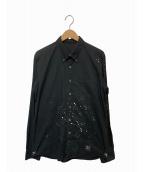 uniform experiment(ユニフォームエクスペリメント)の古着「ナンバリングスタードリッピングBDシャツ」|ブラック
