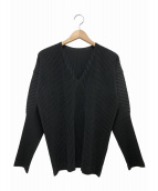 HOMME PLISSE ISSEY MIYAKE(オムプリッセイッセイミヤケ)の古着「プリーツカットソー」|ブラック