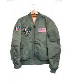 AVIREX(アビレックス)の古着「タイガー刺繍MA-1ジャケット」|カーキ
