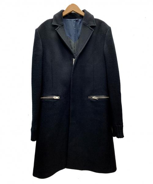 DIESEL(ディーゼル)DIESEL (ディーゼル) 切り替えチェスターコート ブラック サイズ:L 冬の古着・服飾アイテム