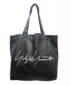 YOHJI YAMAMOTO(ヨウジヤマモト)の古着「ロゴレザートートバッグ」|ブラック