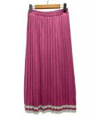 PAMEO POSE(パメオポーズ)の古着「グリッタープリーツニットスカート」|ピンク