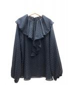 IENA LA BOUCLE(イエナ ラ ブークル)の古着「カットジャガード ラッフルブラウス」|ネイビー