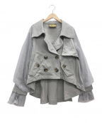 BELLE VINTAGE(ベル ビンテージ)の古着「ボリューム袖ショートトレンチコート」 グレー