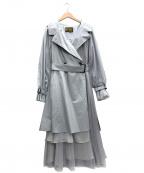 BELLE VINTAGE(ベル ビンテージ)の古着「チュールデザイントレンチコート」 グレー