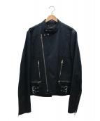 ()の古着「ダブルライダースキャンバスジャケット」|ブラック