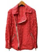 Ys PINK()の古着「カットワーク刺繍ライダースジャケット」|ピンク