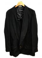 COMME des GARCONS HommePlus(コムデギャルソンオムプリュス)の古着「ポリ縮ショールカラーテーラードジャケット」|ブラック