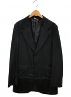 COMME des GARCONS HommePlus(コムデギャルソンオムプリュス)の古着「レザー切替テーラードジャケット」|ブラック