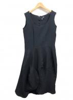 COMME des GARCONS(コムデギャルソン)の古着「ポリ縮絨N/Sドレス」|ブラック