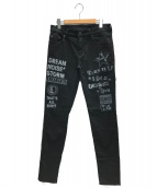 Hysteric Glamour(ヒステリックグラマー)の古着「LOGO PATCH Sチノスキニーパンツ」|ブラック