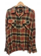 Needles(ニードルス)の古着「カットオフボタンダウンクラシックシャツ」|レッド